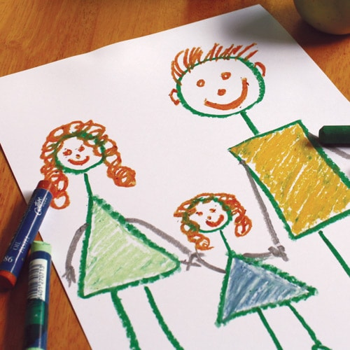 Childs drawing of family holding hands